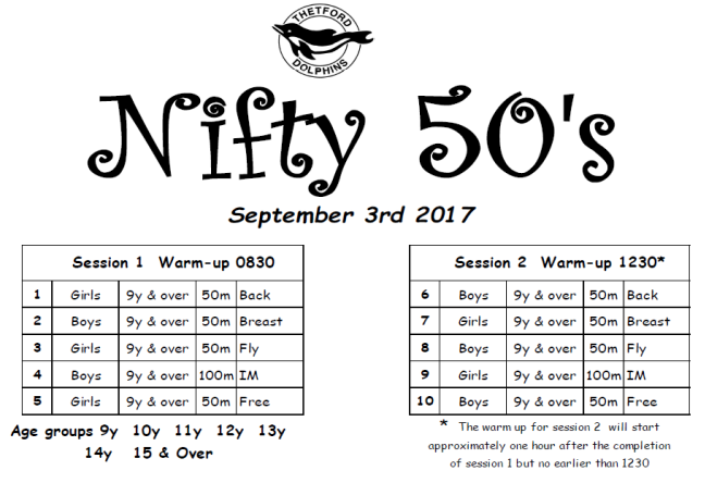 Thetford Nifty Fifties CANCELLED @ Waterworld Thetford | England | United Kingdom